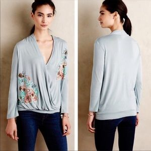 Anthropologie's Akemi + Kin Embroidered Blue Top